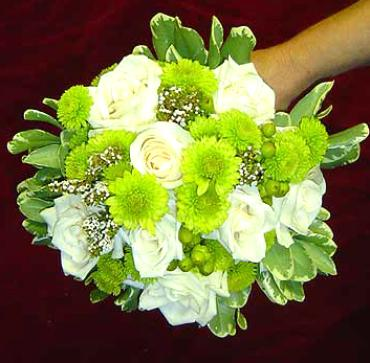 White Rose and Buttons Bouquet